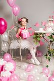 Child Girl Birthday Party, Dreaming Kid with Present Gift Box