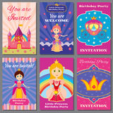 Child girl birthday, princess party vector invitations set Stock Images