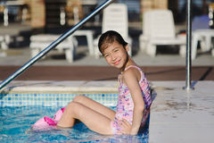 Child girl in blue swimming pool Royalty Free Stock Image