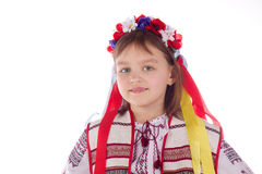The child, a girl in a bright dress. Royalty Free Stock Photo