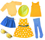 Child girl bright summer clothes isolated. Royalty Free Stock Photos