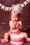 Child girl with cake Stock Image