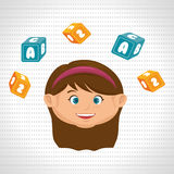 child girl cartoon cubes alphabet letters Royalty Free Stock Photography