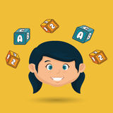 child girl cartoon cubes alphabet letters Royalty Free Stock Images