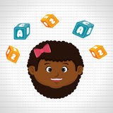 child girl cartoon cubes alphabet letters Stock Image