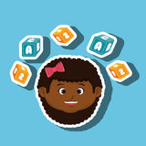 child girl cartoon cubes alphabet letters Royalty Free Stock Image