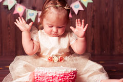 Child girl celebrating birthday Stock Images