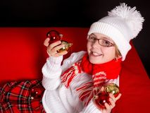 Child girl  with christmas decoration Stock Photo