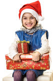 Child girl Christmas gift Stock Images