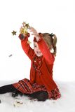 Child Girl Christmas Stars Stock Photo