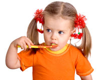 Child girl clean brush teeth. Royalty Free Stock Image
