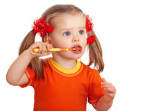 Child girl clean brush teeth. Stock Photography