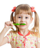 Child girl cleaning teeth Royalty Free Stock Image