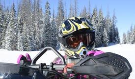 Child, girl, closeup riding snowmobile Stock Photography