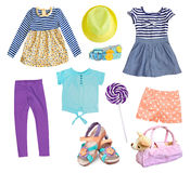 Child girl clothes collage set isolated on white. Royalty Free Stock Photography