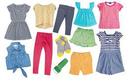 Child girl cotton bright summer clothes set collage isolated. Royalty Free Stock Photos