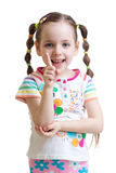 Child girl counting and showing forefinger Royalty Free Stock Photo