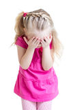 Child girl cover her face with her hand isolated. Child little girl cover her face with hand isolated on white background Royalty Free Stock Photo