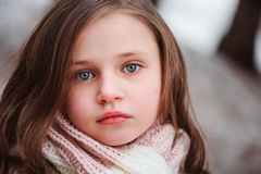 Child girl on cozy warm outdoor winter walk Royalty Free Stock Photography