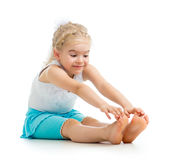 Child girl doing fitness Royalty Free Stock Image