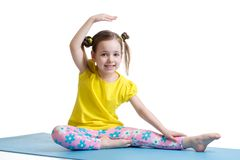 Child girl doing fitness exercises Royalty Free Stock Image
