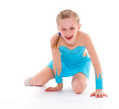 Child girl doing fitness exercises Stock Photo