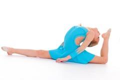 Child girl doing fitness exercises Stock Image
