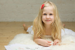 Child girl drawing Stock Photography