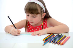 Child girl drawing Stock Photo