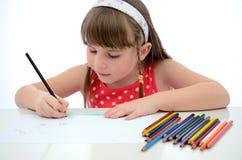 Child girl drawing Stock Photo