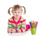 Child girl drawing pencils Royalty Free Stock Photo