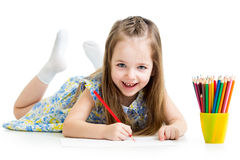 Child girl drawing with pencils Stock Photography