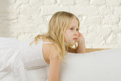 Child girl dreaming home Stock Photo