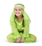 Child girl dressed arabian. On white Royalty Free Stock Photos
