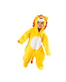 Child girl,dressed in lion carnival suit, isolated on white background. Baby zodiac - sign Leo. The concept of childhood and holiday stock photography