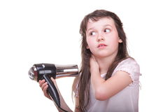 Child girl drying hair Stock Images