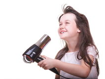 Child girl drying hair Royalty Free Stock Photo