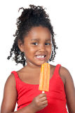 Child girl eating ice cream royalty free stock photography