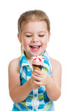 child girl eating ice cream isolated Stock Photos
