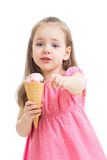 Child girl eating ice cream isolated Stock Photo