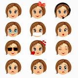 Child girl emotions face set. Emoticon smiley faces. Vector cartoon illustration. Girl emotions faces collection . Emoticon smiley faces. Vector cartoon stock illustration