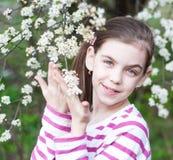 Child girl enjoying blossom. Pretty child girl and spring cherry blossom Stock Images