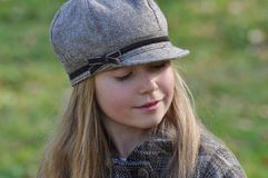 Child, Girl, Face, View, Blond, Cap Royalty Free Stock Photos