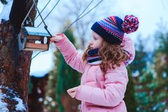 Child girl feeding birds in winter. Bird feeder in snowy garden, helping birds during cold season. Teaching kids to love and protect nature royalty free stock image
