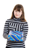 Child girl gifts the bright present Royalty Free Stock Images