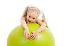 Child girl with gymnastic ball Stock Photo