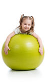 Child girl with gymnastic ball isolated Stock Photos
