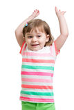 Child girl with hands up isolated on white Royalty Free Stock Photography