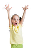 Child girl with hands up Stock Photo