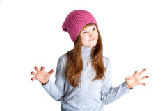 Child girl hat. Adorable smiling child girl wearing pink knitted hat Royalty Free Stock Photo